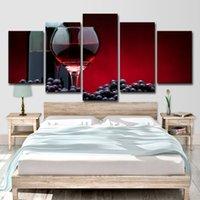 cam resim duvar sanatı toptan satış-Tuval HD Baskılar Resim Sergisi Wall Art Poster 5 Parça Üzüm Kırmızı Şarap Cam Sanatı Resimleri Mutfak Restoran Ev Dekor