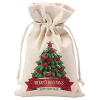 Wholesale case for coins resale online - Christmas Bag Canvas Large Candy Bags Canvas Santa Sack With Drawstring For Christmas Gift reusable Jewelry Storage Case Coin