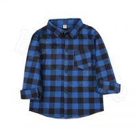 Wholesale Kids Plaid Long Sleeve Shirts Styles Baby Boys Girls Cotton Casual Tops Tees T shirt Blouse OOA6337