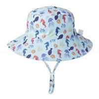Wholesale baby sun summer hat resale online - Kids solid print beach hat baby fisherman hat summer sun outdoor soft cap with adjustable rope party favor FFA4010