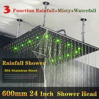 duchas chuveiros venda por atacado-Hot Sale 24 Polegadas Super grande tamanho cachoeira chuveiro 304 chuveiro de aço inoxidável com led cor da luz da água mudança de cor automática