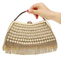 сумки для невест оптовых- Handbags Women Bags Designe Evening Bag Tassel Rhinestones Clutches Wedding Bride Shoulder Crossbody Bags Banquet Handbag