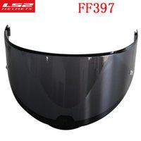 ls2 kask lens toptan satış-Orijinal LS2 FF397 fiberglas tam yüz motosiklet kask güneşlik siyah gümüş açık lens FF397carbon elyaf kask aksesuarları