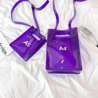 a4 bolsas de mujeres al por mayor-Mensajero de la manera de las mujeres del hombro Bolso transparente de PVC de carta vertical Bolsa A4 A5 verano creativo Beach con cordón interno
