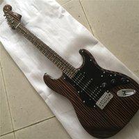 Wholesale black guitar customize resale online - Zebra Wood Electric Guitar with Black Pickguard HSH Pickups Zebra Wood Fretboard Gold Hardwares offering customized services