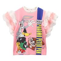 camisa do chiffon dos desenhos animados venda por atacado-Novos vestidos das meninas Dos Desenhos Animados rendas chiffon Princesa Vestidos de Moda Verão Longo crianças T-Shirt Roupas de Grife Crianças Meninas vestido de crianças vestido A4528