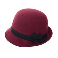 ingrosso bellissimi cappelli da spiaggia-Bella ragazza delle donne Retro Bowknot Beach Felt Lana Fedora Cappelli Bowler Derby Cappelli Cappelli bonito