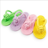 Wholesale dragging toys online - In Platform Door Nibbling Of Weave Slipper Cotton Rope Dragging Ball Pets Bird A Molar Tooth Parrot Toys
