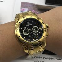 relógio de fita venda por atacado-Big dial invicta Todos Subdials Trabalho Cronógrafo Relógio de Luxo Homens Relógios Top marca de Silicone fita de Quartzo Relógio de Pulso cfo R Homens presente relojes