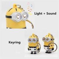 anime silikon liebe puppen großhandel-Cartoon niedliche Puppe Minions Anime Keychain mit LED-Leuchten Beliebte Silikon Cartoon Minions Keyring Sagen, ich liebe dich Kind Spielzeug Anhänger Keychain