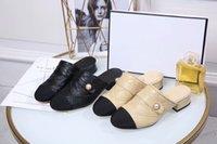 ingrosso tacchi perla in pelle di pecora-Pantofole di pelle di pecora nera beige Pantofole con tacco basso 3cm Scarpe classiche da donna eleganti con tacco alto