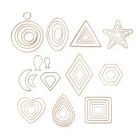metal çerçeveler takılar toptan satış-Yüksek Kaliteli Takı Çerçeve Bir Set Yuvarlak Kare Geometrik Metal Çerçeve Takı DIY Yapımı için UV Reçine Charms Çerçeve