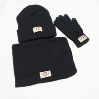 Wholesale hats gloves sets resale online - High Quality Men Women Classic Designer Hat Scarf European High end Brand Hats Scarves Gloves Sets Knitted Cap muffler Fashion Accessories