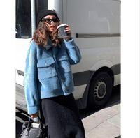 estilo de chaqueta femenina coreana al por mayor-2018 mujeres del invierno de la felpa de la chaqueta de la alta calidad del estilo coreano caliente de la solapa de textura suelta ocasional del bolsillo de un solo pecho femenino linda