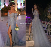 Wholesale long sleeve evening dresses online - Sexy Thigh High Slits Silver Evening Dresses Long Sleeve Off Shoulder Backless Sweep Train Appliques Beads Abendkleider Prom Party Gowns