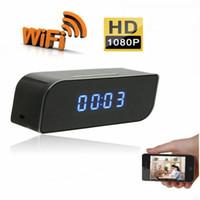 movimento ativado câmera despertador venda por atacado-1080 P Wi-Fi Câmera de Rede Relógio Despertador HD DVR Movimento Ativado Câmera App Em Tempo Real Monitoramento Remotamente para Casa Segurança Sem Fio Nanny Cam
