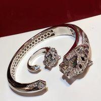 ingrosso puro set di argento sterlina-Set di gioielli di marca Pure 925 gioielli in argento sterling per le donne Rose Gold Black Pattern Panther Wedding Leopard Bangle Rings Set
