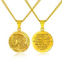 circulo de titanio al por mayor-Jesús virgen María círculo de titanio de acero colgante de collar de la moda de los hombres parejas ornamentos religiosos de personalidad usan joyas