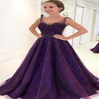 robes en paillettes achat en gros de-Violet Perles Bling Longue Robe De Soirée Avec Des Pierres Sexy Belle Cristal Perlée Robe De Soirée De Paillettes