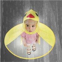 divertidas manos libres al por mayor-Niños lindos UFO impermeable cubierta de la lluvia divertido pato amarillo impermeable poncho paraguas manos libres ropa impermeable impermeable lluvia Gear CCA11000 50pcs