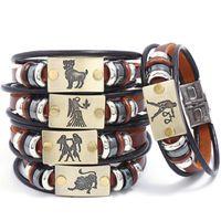 zodiac sign bracelets großhandel-18 arten Zwölf Konstellation Serie Lederarmband 12 Sternzeichen Mehrschichtige Armband Männer und Frauen Mode Armreif