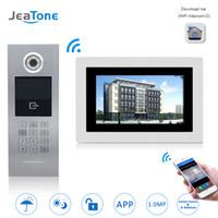 interkom sistemi video toptan satış-JeaTone 7 '' WIFI IP Görüntülü Kapı Telefonu İnterkom Kablosuz Kapı Zili Bina Güvenlik Erişim Kontrol Sistemi Dokunmatik Ekran Şifre / IC Kart