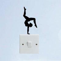 decalques de parede de ioga e vinil venda por atacado-Esporte Menina Ginasta Yoga Vinyl Porta Início Adesivos de Parede Interruptor de Decalques
