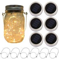 luz frasco ao ar livre venda por atacado-6-Pack Solar alimentado Mason Jar Luzes de 20 LEDs de Vidro Fada À Prova D 'Água Pendurado Iluminação Tampas de Cordas Ao Ar Livre para Decoração Da Lâmpada Do Pátio