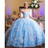 Wholesale floor length prom ball dress for sale - Group buy Sky Blue Prom Quinceanera Dresses Cheap Ball Gowns Strapless Corset Back Lace Applique Tiered Skirt Tulle Sweet Gowns