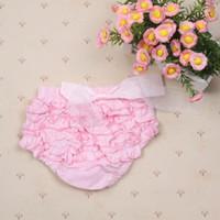 bebek kızı bezci pantolonu toptan satış-Toptan-Prenses Kız Bebek Sevimli Bloomers Fırfır PP Pantolon Şort Bow Bezi Nappy Kapak Kalitesi