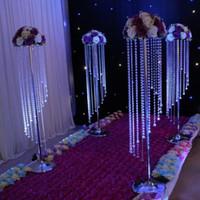 lámparas de mesa centros de mesa al por mayor-Venta al por mayor de cristal brillantes por materiales de construcción Claro guirnalda araña de pastel de bodas fiesta de cumpleaños decoraciones soporte para los mejores centros de mesa