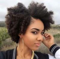 perruques de cheveux humains afro-américaine achat en gros de-Perruque de style bob de cheveux bouclés pleine de dentelle kinky sans colle brun noir afro-américain perruque de cheveux humains de dentelle avant 10-14 pouces En vente
