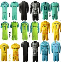 Wholesale Youth Long Ter Stegen Goalkeeper Jersey Kids Kit Soccer Sets Marc Andre Ter Stegen Kid Boys Any Name Number Goalkeeper Uniform