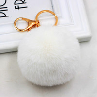 Wholesale keychains for lovers resale online - 8CM Pompoms Keychain Trinkets Gold Lobster Fur Ball Key Chain Fluffy Rabbit Key Link Cute KeyChains for Women Bag Cars Keyrings Colors