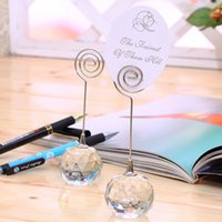 Wholesale crystal wedding table card holder resale online - Note Clip Marry Romantic Crystal Ball Business Card Holder Wedding Celebration Articles Seat Cards Clips Party table decor FFA3496