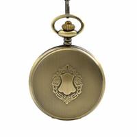 bronz cep saatleri toptan satış-CKKU Takı Moda Kuvars Pocket Watch Tam Hunter Antik Bronz Vaka Romen Rakamları ile Erkekler Erkek Hediye için Beyaz Kadran LPW727