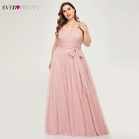 Wholesale blush chiffon ruffle wedding dress resale online - Plus Size Bridesmaid Dresses Ever Pretty EP07303 Blush Pink A Line V Neck Tulle Elegant Lavande Long Dress For Wedding