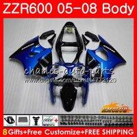 kit de carenagens para kawasaki zzr venda por atacado-Corpo para KAWASAKI NINJA 600CC ZZR600 05 06 07 08 Carroçaria 38HC.20 ZX600CC ZZR-600 ZZR 600 2005 2006 2007 azul hot stock 2008 OEM Kit de carenagem