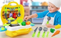 Wholesale toy utensils resale online - Children s imitation kitchen utensils Chechera clay tools cosmetics family suitcases doctor s toys