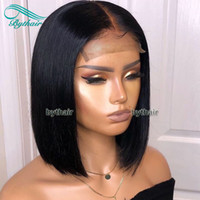 Wholesale human hair wigs short light brown resale online - Bythair Short Bob Silky Straight Peruvian Human Hair Full Lace Wigs Baby Hairs Pre Plucked Natural Hairline Lace Front Wig Bleached Knots