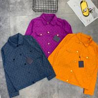 erkekler için kot ceket tasarımı toptan satış-19ss Yeni lüks marka tasarım tam logolar baskı denim kot ceket Erkek Kadın Streetwear Tişörtü Açık Gömlek