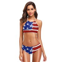 7c43ca7bc7270 Ladies Bikinis Set Eagle Human Skeleton Stars Striped Printing Beach Swimsuit  Women American Flag Halter Bathing Suit Breast Pad Bikini