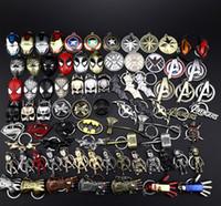 demir örümcek maskesi toptan satış-39 tasarımlar Metal Avengers Kaptan Amerika Kalkanı Anahtarlık Örümcek adam Demir adam Maske Anahtarlık Oyuncaklar Hulk Batman Anahtarlık Anahtar Hediye Oyuncaklar