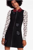 linha da marca do vestido venda por atacado-2019 Outono O Pescoço Sem Mangas Carta Imprimir Panelled Milan Runway Vestido Da Marca do mesmo estilo Vestido 072104