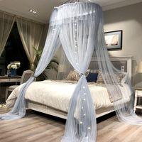 malla textil al por mayor-Princess Style Hung Dome Mosquitera Cortina de encaje redondo para el hogar Textil Cama Toldo Cuna Poliéster Malla Tienda de campaña Niñas Zanzariera
