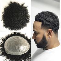 siyah kıvırcık saç toptan satış-Cilt İnsan Saç Erkekler Peruk Tam Pu Peruk Erkekler için Hairpieces Değiştirme Sistemleri Hint Remy Saç 8x10 7x9 Siyah Kıvırcık Dalga Erkekler Peruk