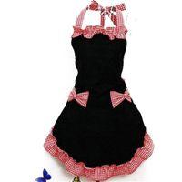 простой полиэфирный фартук оптовых-Новый милый нагрудник фартук платье кокетливый винтаж кухня женщины бантом с карманом подарок T8190627