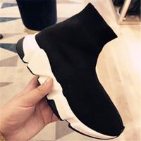 Wholesale brand new hot sneakers resale online - Hot New Brands Designers Men Womens Speed Trainer Slip on Sneakers Air Wool Knit Sock Shoes Women Socks Boots