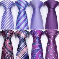 kravat seti hırka kol düğmesi toptan satış-Mor Renk Erkek Kravatlar Hanky Kol Düğmeleri Seti Barry. Erkekler Için Düğün Bağları Düğün Iş Resmi Erkekler Için Kravat Set Dropshipping