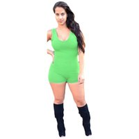 ingrosso gilet di esercito verde per le donne-Eternity Women Elastic Sports Fitness senza maniche Tinta unita Tuta a collo a Ups Vest Pantaloncini Tutina